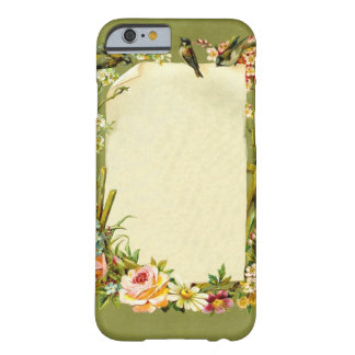Pretty Vintage Birds & Flowers Border Decoration Barely There iPhone 6 Case