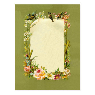 Pretty Vintage Birds & Flowers Border Decoration Postcard