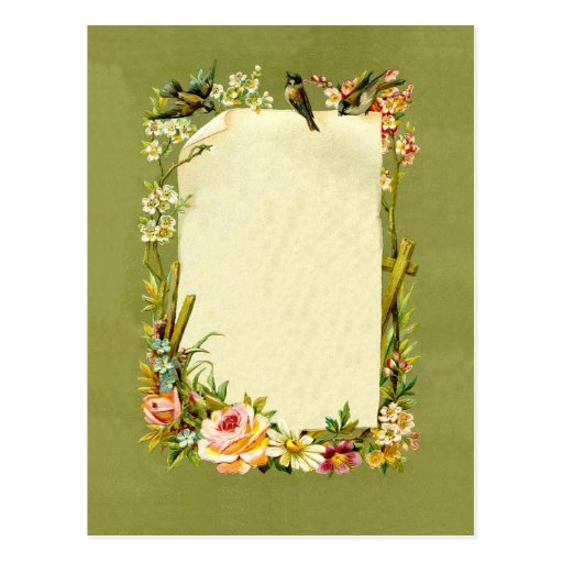 6 Etl Business Requirements Specification Template Reyri: Pretty Vintage Birds & Flowers Border Decoration Postcard