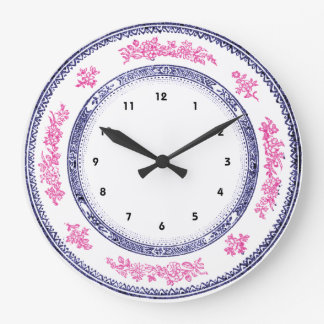 pretty vintage blue pink china delft plate clock
