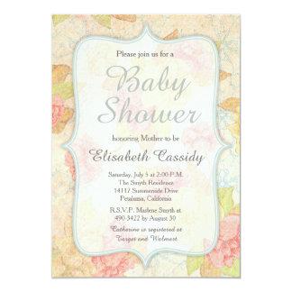 Pretty Vintage Floral Baby Shower Invitation