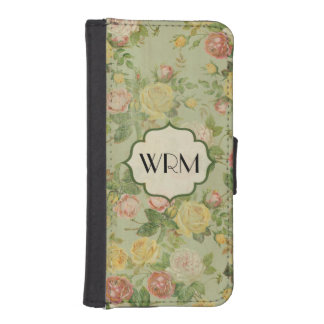 Pretty Vintage Floral Monogrammed Flower Pattern iPhone SE/5/5s Wallet Case