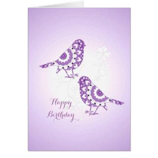 Pretty Vintage Floral Patterned Birds Card
