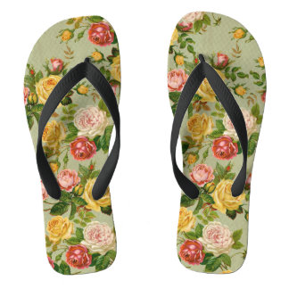 Pretty Vintage Floral Rose Pattern Girly Thongs