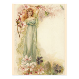 Pretty Vintage Girl in Blossoms Postcard