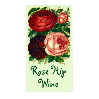 Pretty Vintage Heirloom Labels Wine Rose Hip Roses