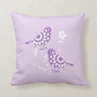 Pretty Vintage Inspired Purple Patterned Birds Throw Pillow
