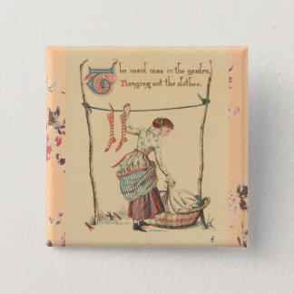 Pretty Vintage Lady 15 Cm Square Badge