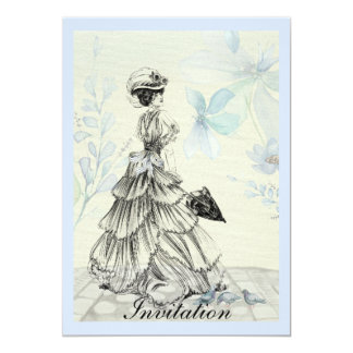 Pretty Vintage Lady And Blue Flowers Card
