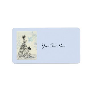 Pretty Vintage Lady And Blue Flowers Label