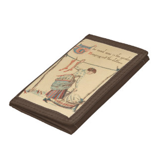 Pretty Vintage Lady Tri-fold Wallet