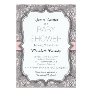 Pretty Vintage Paisley Pink Baby Shower Invitation