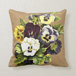 Pretty Vintage Pansy Flowers On Faux Jute Burlap Cushion