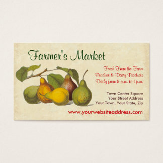 Pretty Vintage Pears Farmer's Market, Greengrocer Business Card