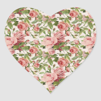Pretty Vintage Pink Roses Heart Sticker