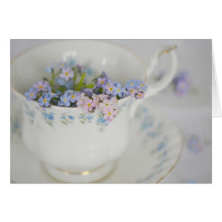 Pretty Vintage Tea Cup and Flowers Note Card