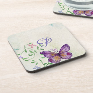 Pretty Vintage Watercolor Butterfly Monogrammed Coaster