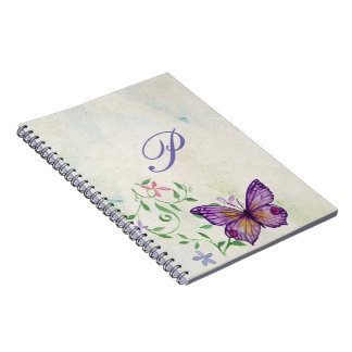 Pretty Vintage Watercolor Butterfly Monogrammed Notebooks