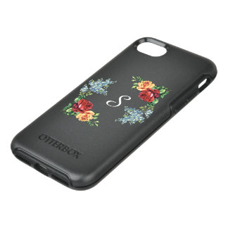 Pretty Vintage Watercolor Roses Monogrammed OtterBox Symmetry iPhone 8/7 Case