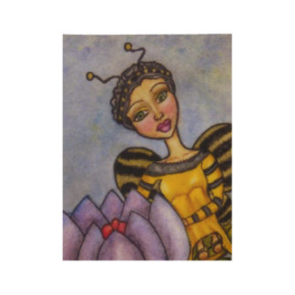 Pretty Water Color Bumble Bee Fairy Purple Flower Wood Poster