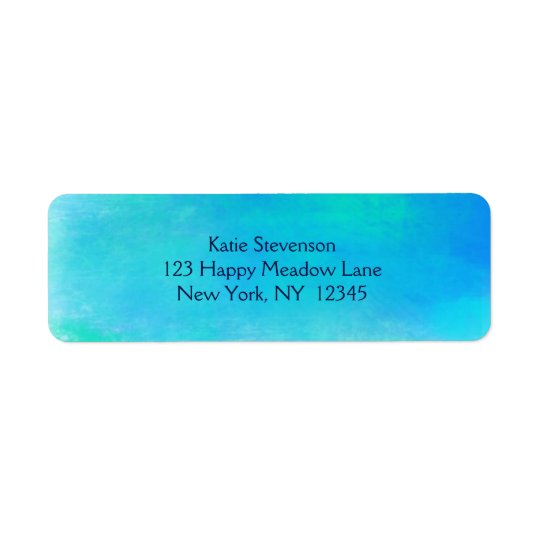 Pretty Watercolor Abstract In Aqua Green and Blue Return Address Label