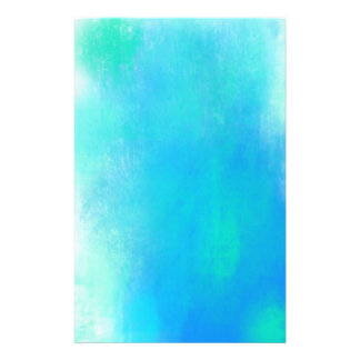 Pretty Watercolor Abstract In Aqua Green and Blue Stationery