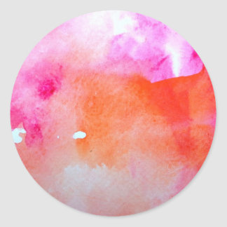 Pretty Watercolor Background Classic Round Sticker