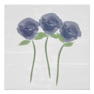 Pretty Watercolor Blue Roses Poster