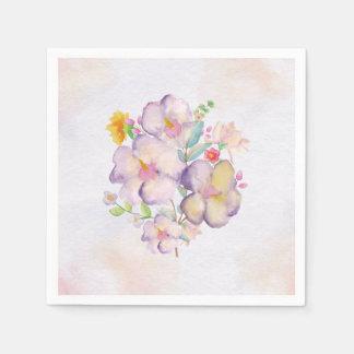 Pretty Watercolor Bouquet (1) - All Sizes Disposable Serviette