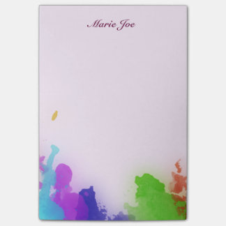 Pretty Watercolor Confetti Splatter Canvas Post-it Notes