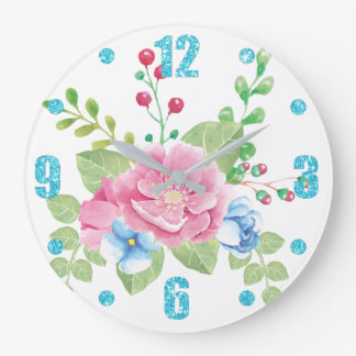 Pretty Watercolor Floral Bouquet Large Clock