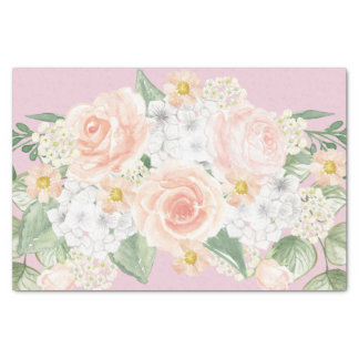 Pretty Watercolor Floral Bouquet Pink Roses Tissue Paper