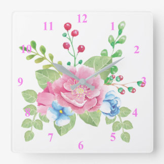 Pretty Watercolor Floral Bouquet Square Wall Clock