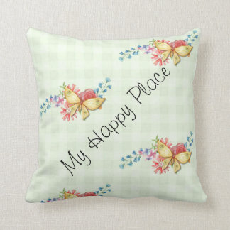 Pretty Watercolor Floral Butterfly Print Cushion