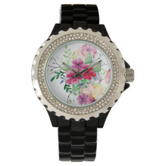 Pretty Watercolor Floral Designed Watch