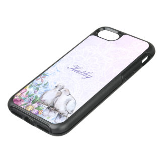 Pretty Watercolor Floral Doves Personalized OtterBox Symmetry iPhone 8/7 Case