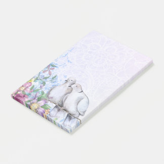 Pretty Watercolor Floral Doves Post-it Notes