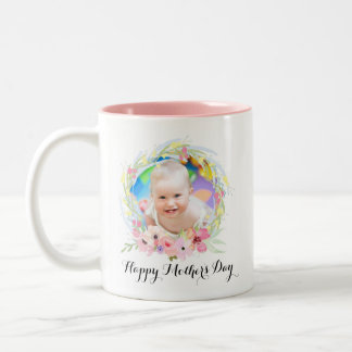 Pretty Watercolor Floral Wreath Photo and Text Two-Tone Coffee Mug