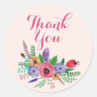 "Pretty Watercolor Flower Bouquet, ""Thank You"" Round Sticker"