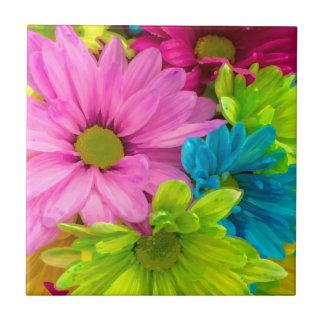 Pretty Watercolor Flowers Bouquet Ceramic Tile