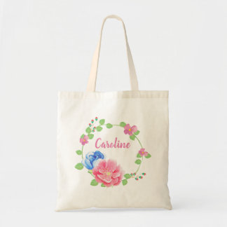 Pretty Watercolor Flowers Personalized Name Tote Bag