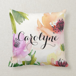 Pretty Watercolor Flowers Personalized Pillow Cushions