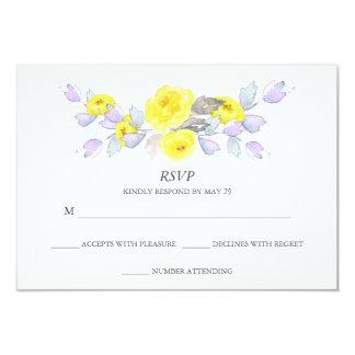 Pretty Watercolor Gray Yellow Purple Roses RSVP 9 Cm X 13 Cm Invitation Card
