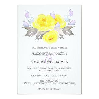 Pretty Watercolor Gray Yellow Purple Roses Wedding 13 Cm X 18 Cm Invitation Card
