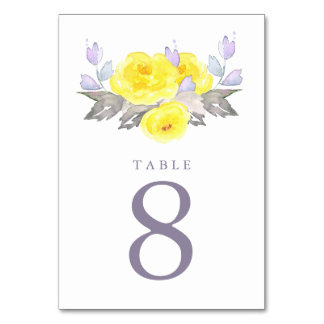 Pretty Watercolor Gray Yellow Purple Roses Wedding Table Cards