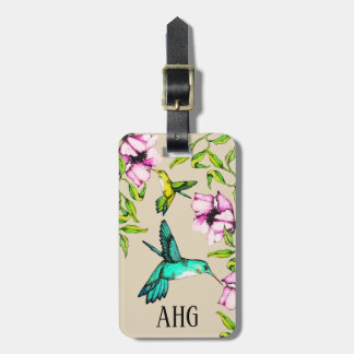 Pretty Watercolor Hummingbirds & Purple Flowers Luggage Tag