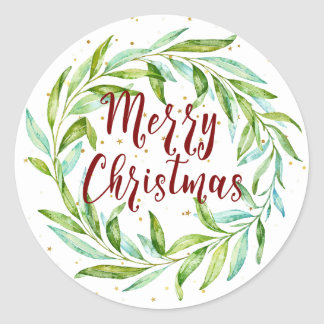 Pretty Watercolor Laurel Wreath Merry Christmas Classic Round Sticker