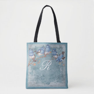 Pretty Watercolor Little Blue Birds Monogrammed Tote Bag