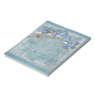Pretty Watercolor Little Blue Birds Notepad