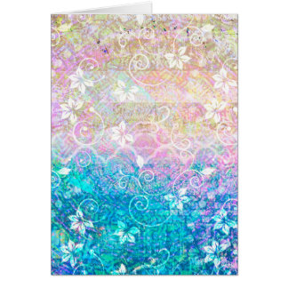 Pretty Watercolor Pastel Floral Pink and Blue Greeting Card